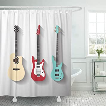 Music Shower Curtain Guitars Rock and Jazz Print for Bathroom