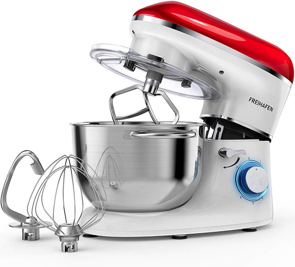 Robot de cocina, amasadora, 5.5L sin ruido, amasadora, gancho para amasar, batidor, protección contra salpicaduras, 6 velocidades con bol de acero inoxidable rojo/blanco