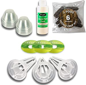 Seedless Double Crop Kit (3 Pod) Compatible with Aerogardens by EZ-gro   Double Sponges for 2 Crops   Peel and Stick Labels   25% More Fertilizer   Compatible with All Aerogarden Pods