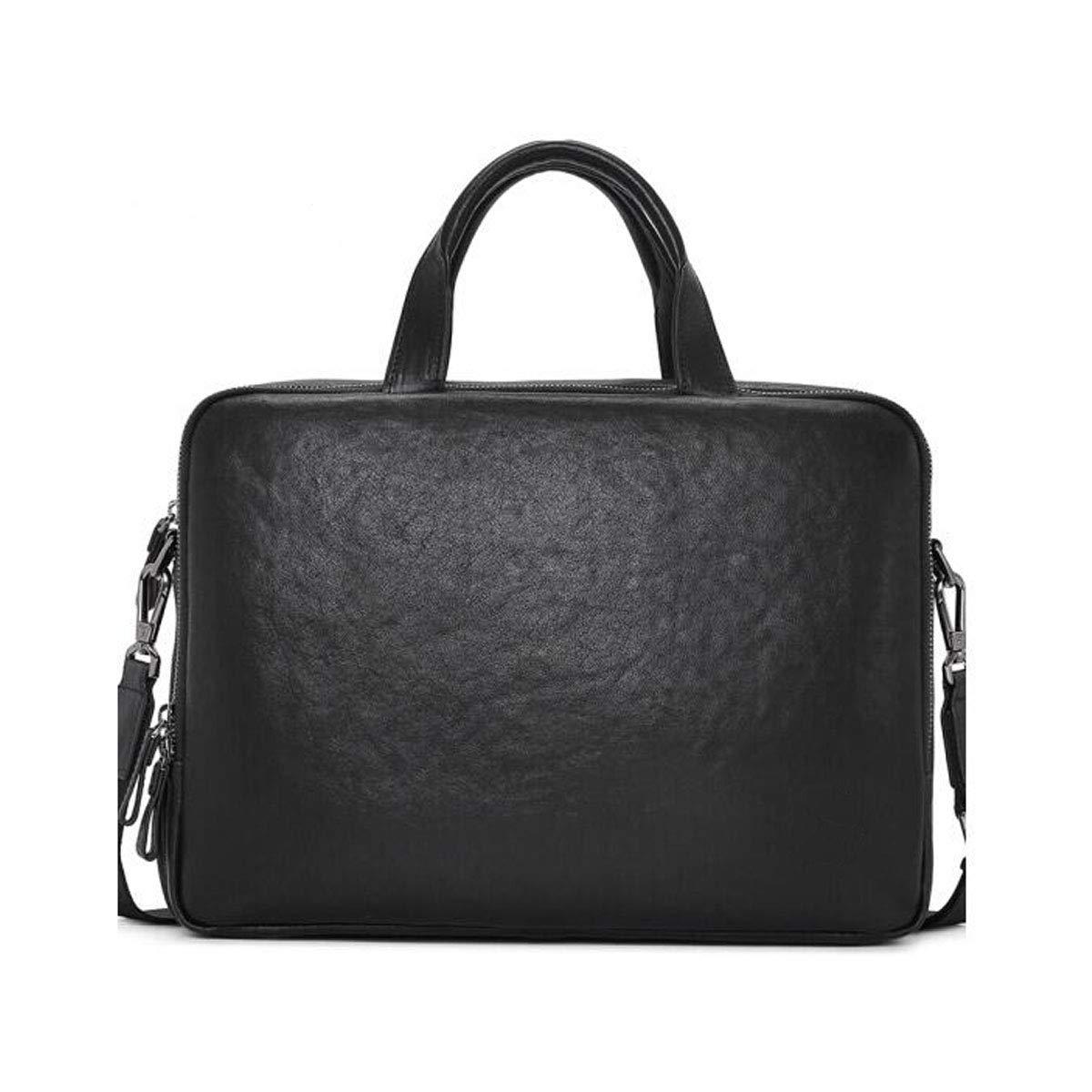 ブリーフケース、メンズビジネスメッセンジャーバッグ、牛革大容量ハンドバッグ、コンピューターバッグ、ブラックサイズ:36 * 8 * 27 cm  ブラック B07R9HQBYK