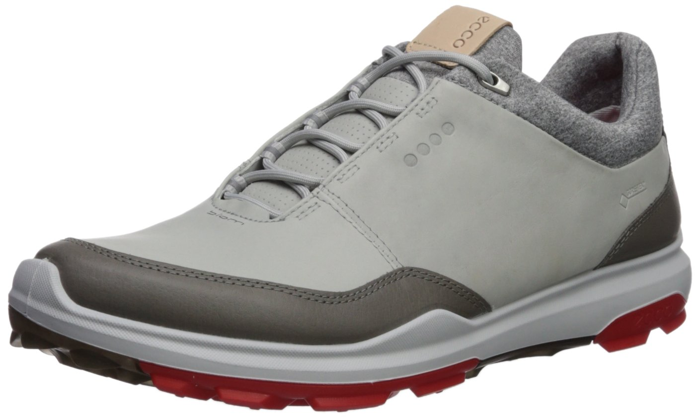 ECCO Men's Biom Hybrid 3 Gore-Tex Golf Shoe, Concrete/Scarlet, 39 M EU (5-5.5 US)