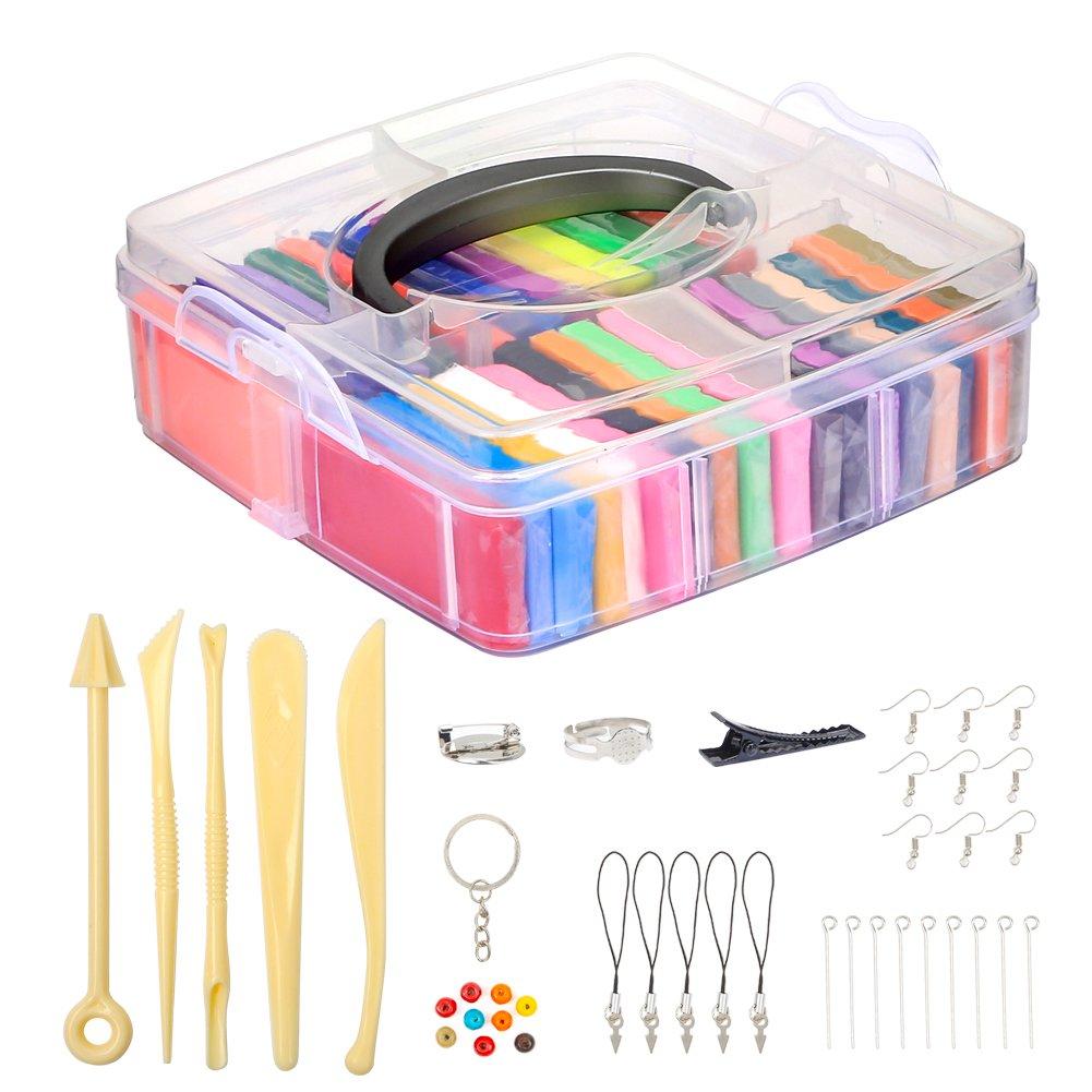 Meerveil Argilla Polimerica Argilla Effetto Morbido, Kit di Argilla Colorata Fai da Te con Strumenti di modellazione Set di Utensili da Modellare (32 Colori)