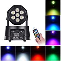 Docooler Stage Light Mini Moving Head Light 7 LEDs 4 in 1 RGBW DMX512 9/14 Channels with Remote Control for KTV Club Bar Party DJ Show Bands