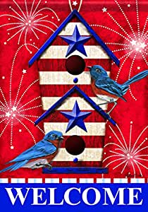 Carson Home Accents Flagtrends Classic Garden Flag, Welcome Bluebird Fireworks