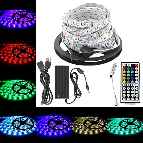 Multicolor rope lights with remote amazon 164ft dc 12v flexible multi color led tape lightsetopxizu smd 5050 rgb 300 leds color changing non waterproof led strip light with rf wireless remote mozeypictures Images