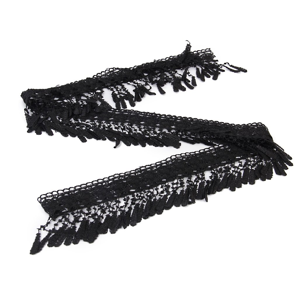 Wide Tassel Lace Trim DIY Sewing Applique Black 3 Yards 11.5cm