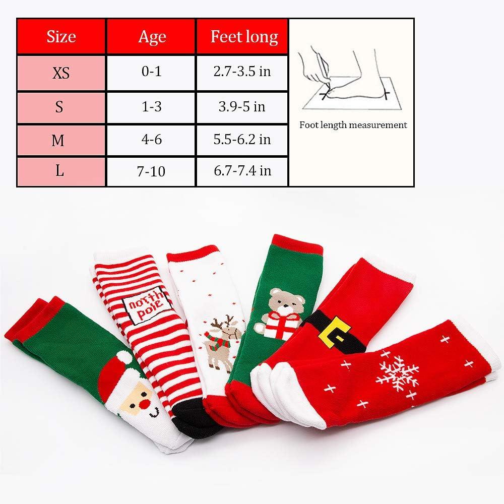 5 Coppie Calze Natale di Cotone,Natale Carino calzino di Cotone Animale del Fumetto Babbo Natale Renna Antiscivolo Unisex 5 Coppie di Calze di Natale Regali per Il Bambino Baby 0-12anni