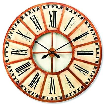 Amazoncom Extra Large 31 White Gold Train Station Wall Clock Wood