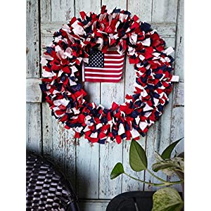 patriotic wreath american flag americana wreath 4th of July decor stars country wreath country holiday Independence day front door decor rag wreath material wreath holiday wreath 105