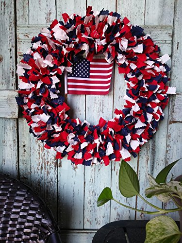 patriotic wreath american flag americana wreath 4th of July decor stars country wreath country holiday Independence day front door decor rag wreath material wreath holiday wreath