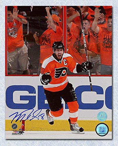 AJ Sports World Mike Richards Philadelphia Flyers Autographed Orange Crush Goal 8x10 - Mike Flyers Richards