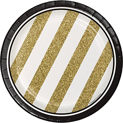White Stripe Plate Gold - Creative Converting 24 Count Sturdy Style Paper Dessert Plates, 7