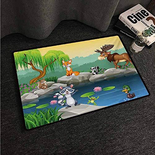 HCCJLCKS Fashion Door mat Cartoon Funny Mascots Animals by The Lake Moose Fox Squirrel Raccoon Kids Nursery Theme Country Home Decor W35 xL59 Multicolor ()