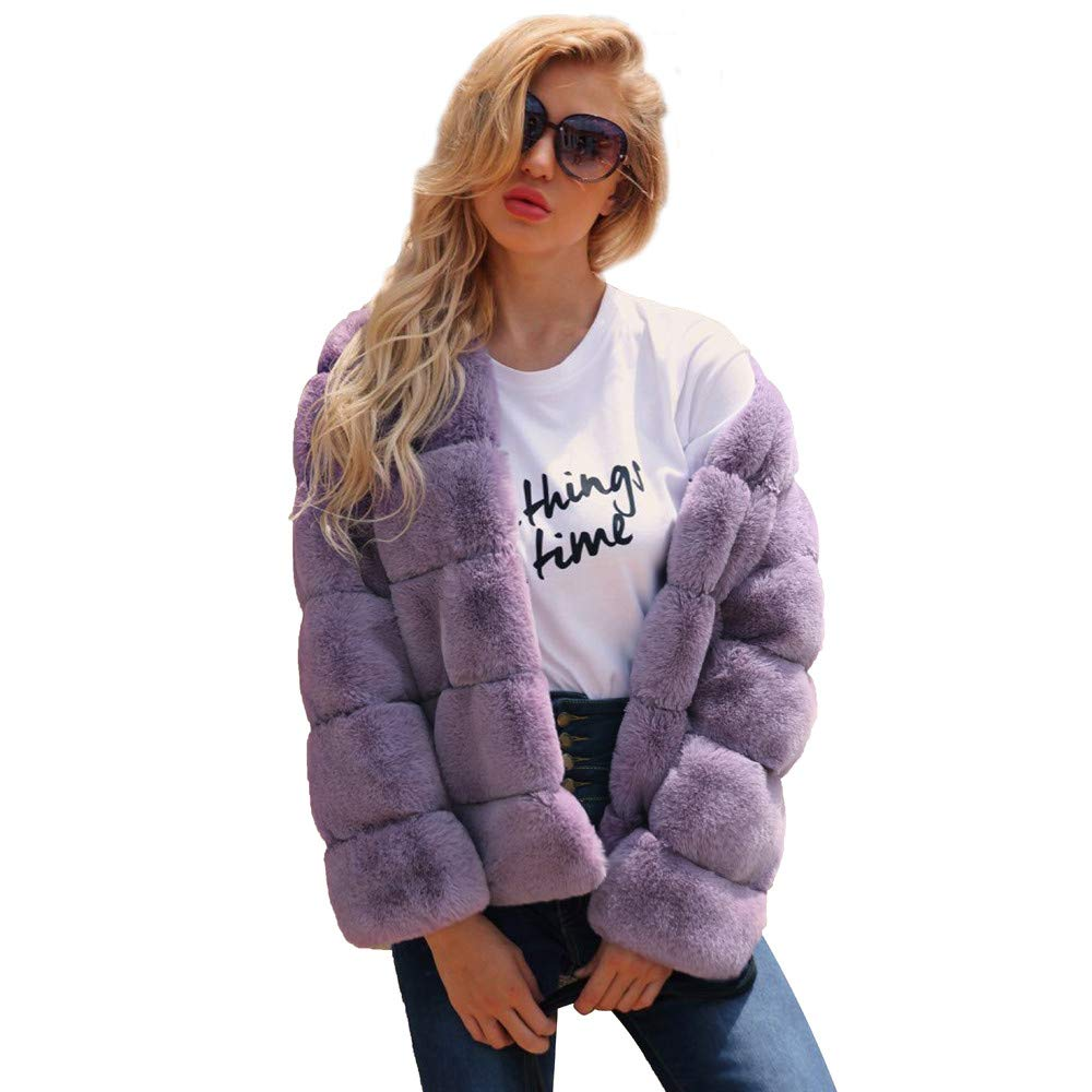 Purple Large Tootu Womens Ladies Warm Faux Fur Coat Jacket Winter Outerwear