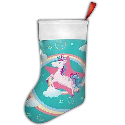Calcetín de Navidad soportes familia Papá Noel calcetines rosa unicornio Candy bolsa de regalo decoración para