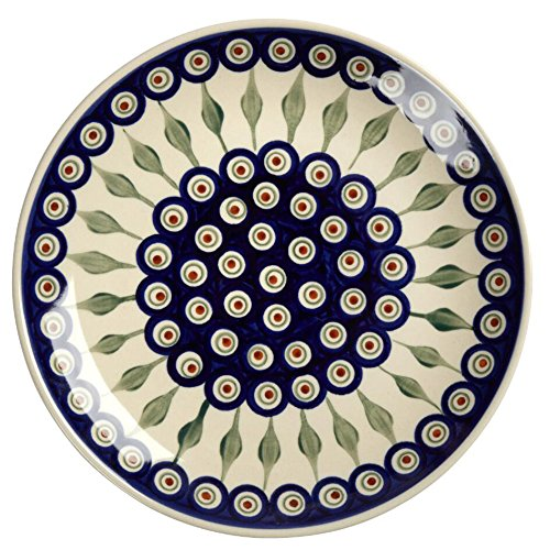 polish-pottery-peacock-feathers-handmade-dinner-plate-1025-inch