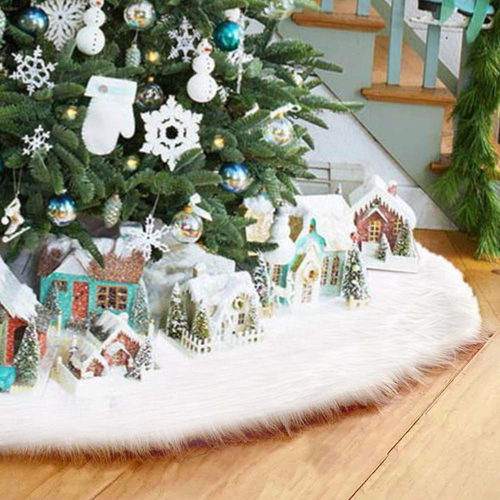 LITTLEGRASS 30/36/48/60in Christmas Tree Skirt White Faux Fur Luxury Soft Snow Tree Skirts for Xmas Holiday Decorations Pet Favors (White, 30) 30)