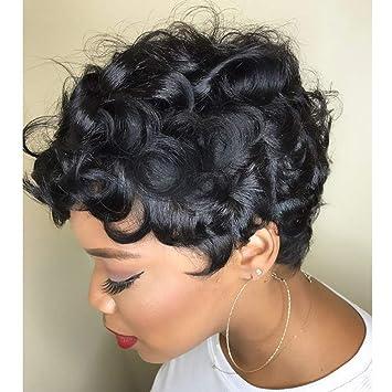 RUISENNA Short Curly Human Hair Wigs Short