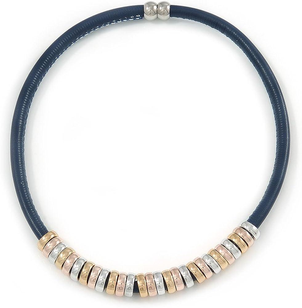 Avalaya Collar magnético de piel azul oscuro con anillos dorados/plateados/oro rosa, 43 cm de largo