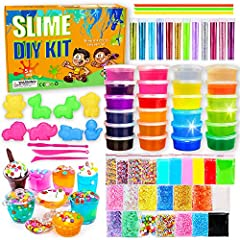 Different colored slimes x 24 Cutting/shaping utensils x 3 Plastic straws x 3 Vials of colored glitter x 12 Animal model x 8 Cups x 9 Accessories x 24
