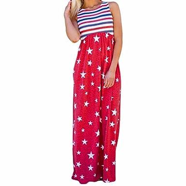 f6e8134f4ce6 Beautyfine Womens Lady Star Printed Holiday Style Sleeveless Striped Maxi  Dresses at Amazon Women's Clothing store: