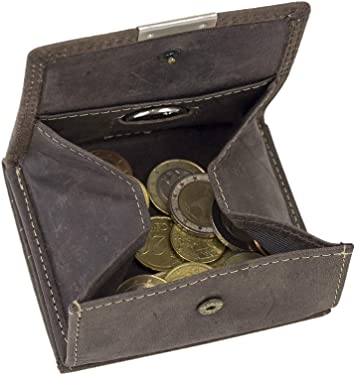 braun Wiener Schachtel Geldbörse mit großem Kleingeldfach LEAS in Echt-Leder