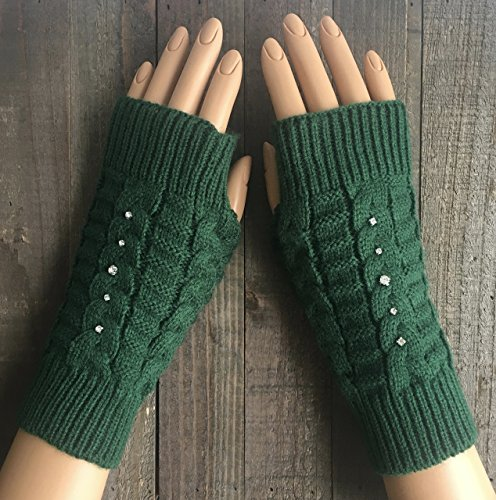 Cable Knit Fingerless Gloves Women Green Rhinestone Arm Warmers Winter Mittens Hand Warmers Rhinestone Acrylic Handmade