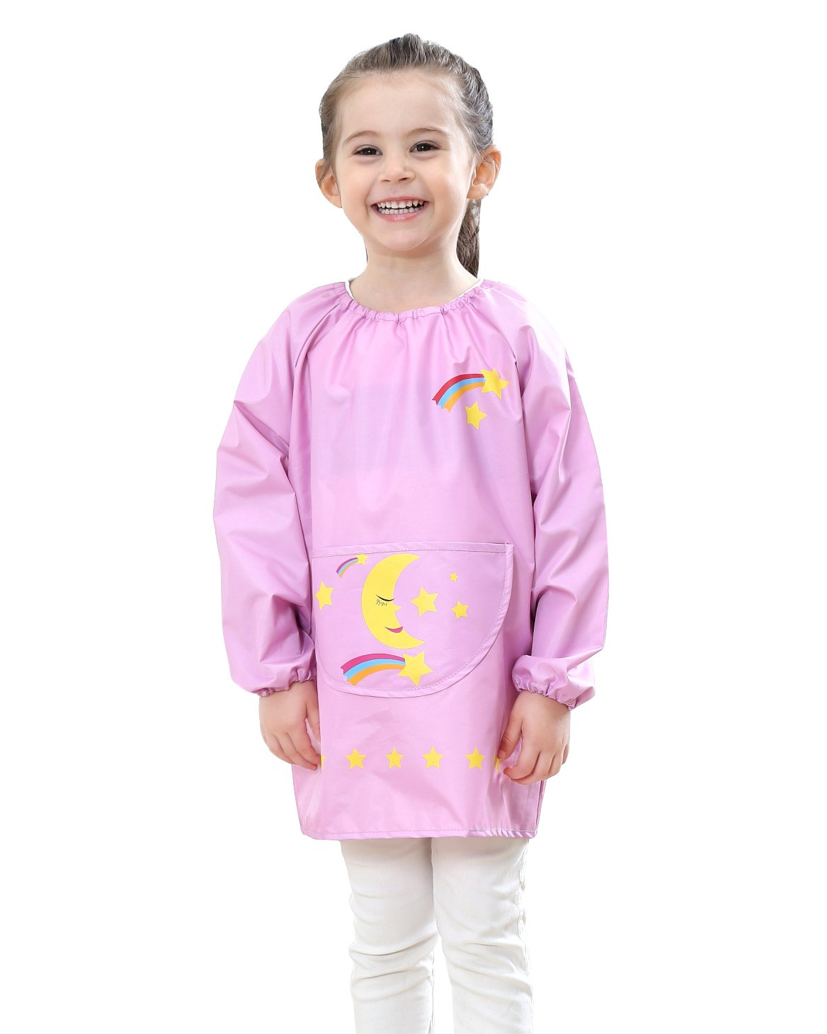 Children's Art Smock Pullover Long Sleeve Drawing Apron Toddler Baby Waterproof Bib with Pocket Rainbow Painting Smock Pink 6-10 T
