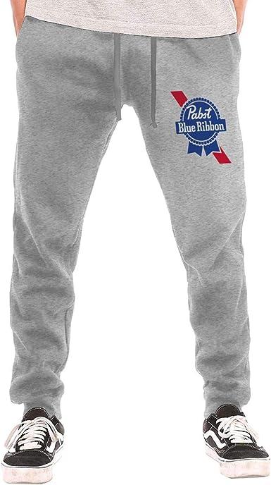 Mens Sweatpants Pabst Blue Ribbon Beer Logo Athletic Jogger Long Pants Black