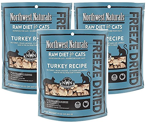 Northwest Naturals Pack of 3 Turkey Freeze Dried Raw Diet for Cats, 11 Ounces Per Pack (Best Raw Diet For Cats)