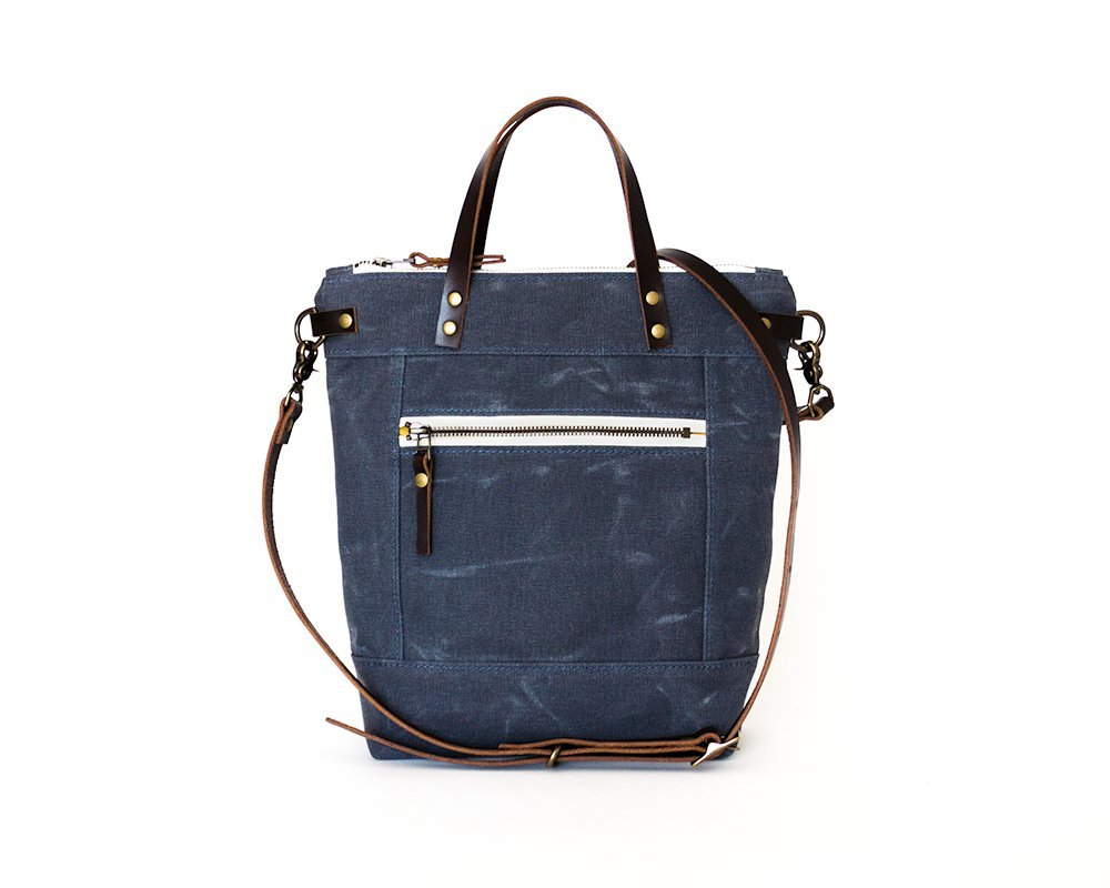 Slate Blue Small Waxed Canvas Crossbody Handbag with Leather Strap and Solid Brass Hardware