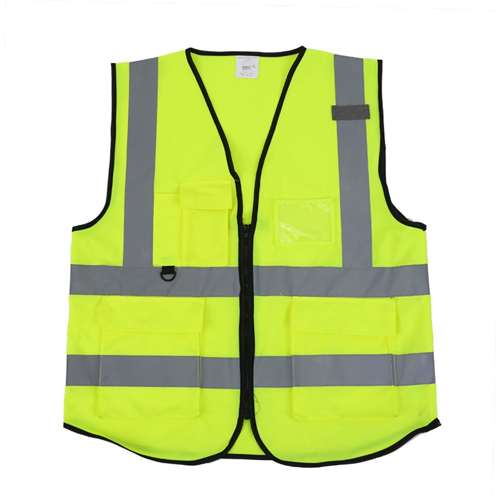 ZOJO High Visibility Reflective Vests,Lightweight Mesh Fabric, Wholesale Safety Vest for Outdoor Works, Cycling, Jogging,Walking,Sports-Fits for Men and Women (Pack of 10, Neon Yellow) by zojo (Image #2)