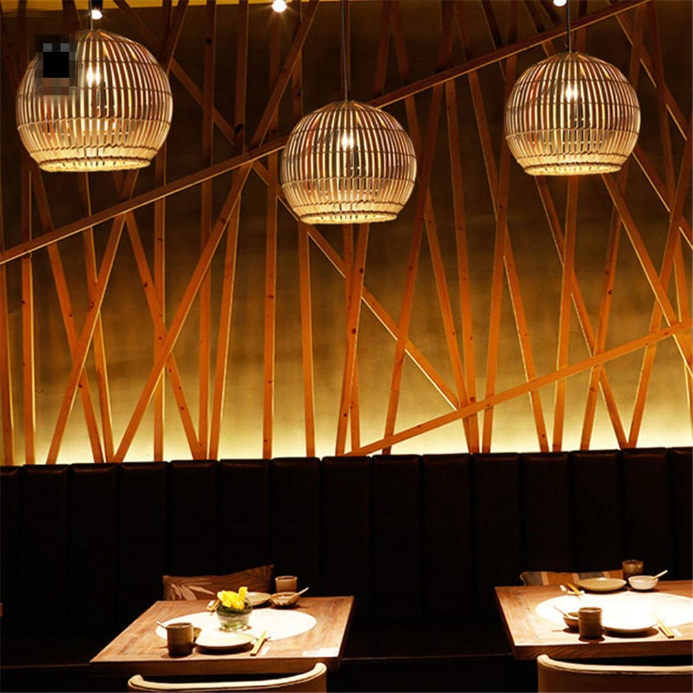 ChuanHan Ceiling Fan Light Chandelier Lightings Bamboo Wicker Rattan Round Ball Globe Pendant Fixture Southeast Japanese Hanging Asia Indoor Dining Room Chandeliers