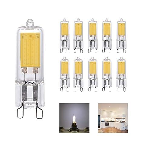 10 x Bombillas LED G9 COB Lámpara, Kimjo 2W Luz Blanco frío 6000K 220LM CRI82