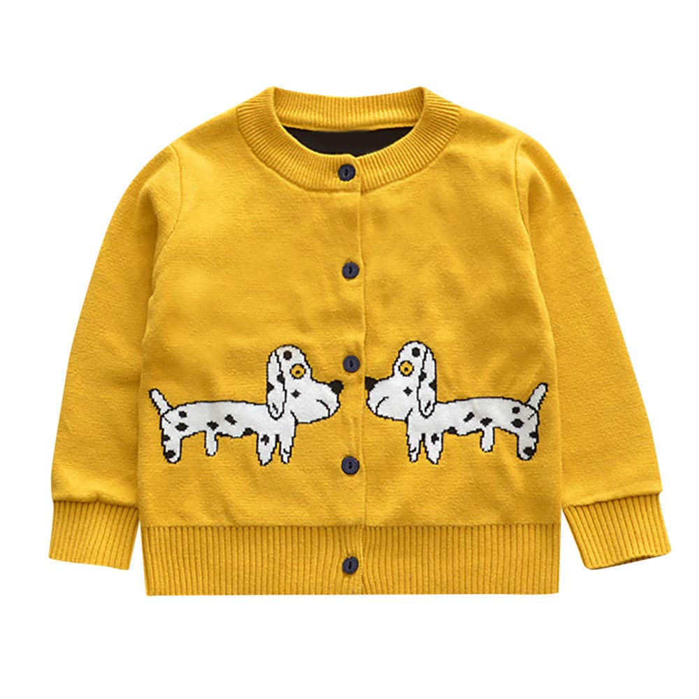 WARMSHOP Boys Girls Kids Cartoon Dog Print Long Sleeve Buttons Knit Cardigan Coat Fall Winter Warm Jacket Clothes