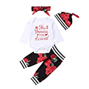 4 pcs Baby Girls Pants Set Newborn Infant Toddler Letter Romper Arrow Heart Pants Hats Headband Clothes (red 1, Newborn)