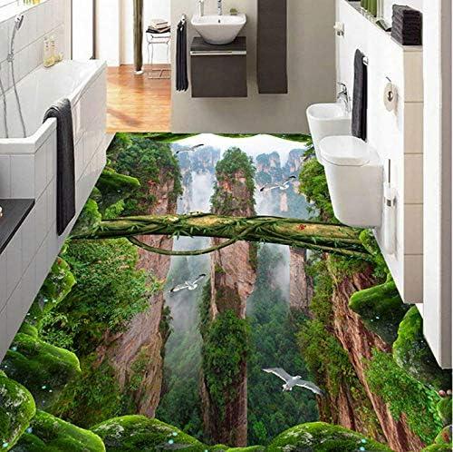 Lcymt カスタム写真壁紙3Dステレオ森林谷ピークス床タイル壁画ステッカーリビングルームバスルームPvc防水壁紙-350X250Cm