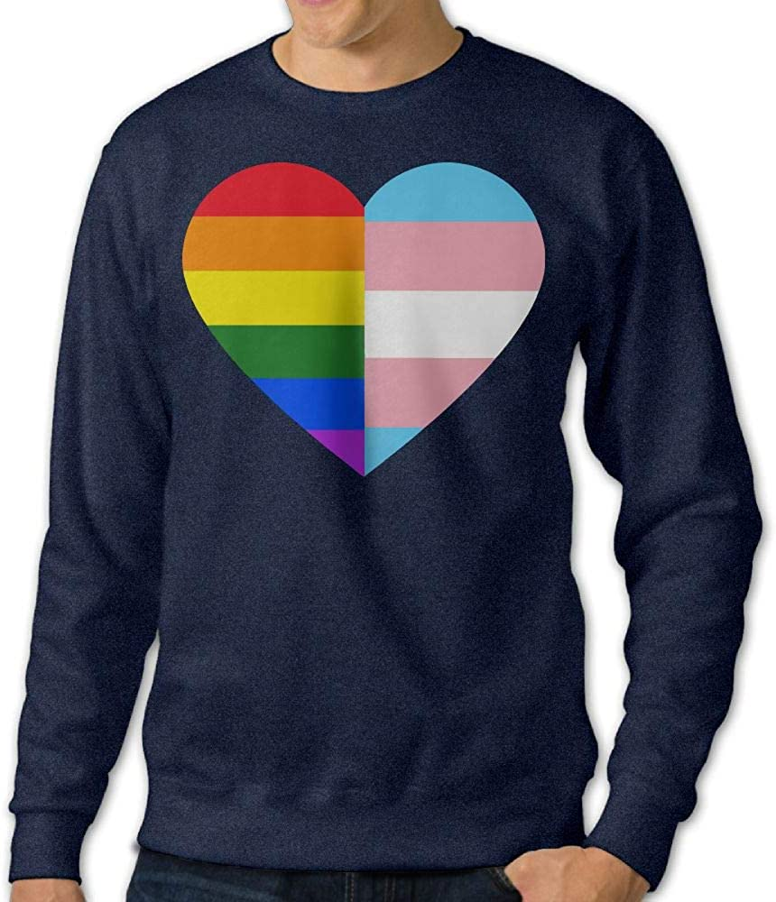 Jiongjiu/&256 Mens LGBT Rainbow and Transgender Pride Flag Heart Crewneck Long Sleeve EcoSmart Fleece Sweatshirt Sweaters
