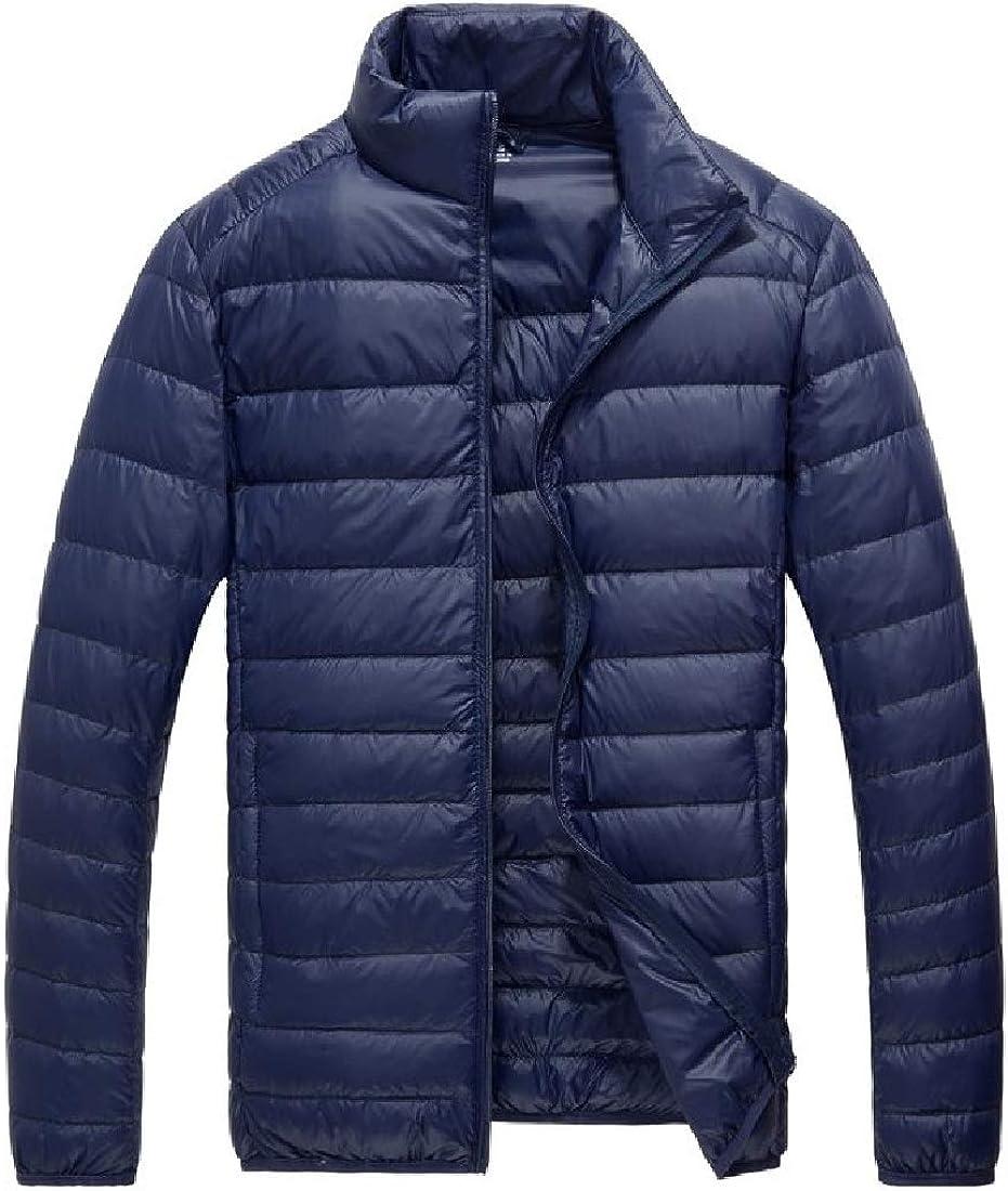 OTW Men Quilted Outdoor Packable Stand Collar Lightweight Down Jacket