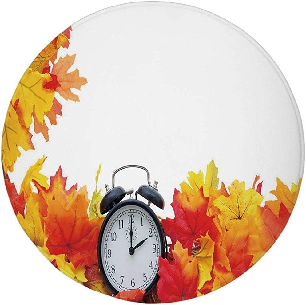 W-WEE Alfombra Redonda Alfombra, decoración de Reloj, Hojas de otoño y un Reloj Despertador Tema de la Temporada de otoño Impresión Digital romántica, Blanco y Naranja