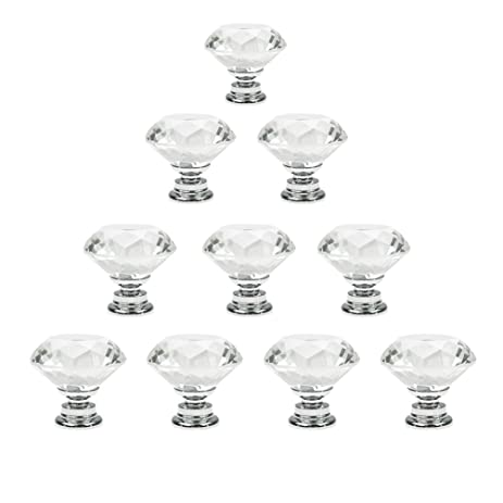 Dxhycc 10 Pcs Crystal Glass Cabinet Knobs 30mm Diamond Shape ...