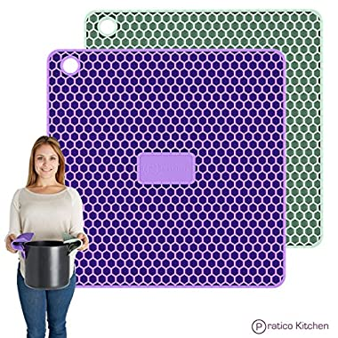 PratiPad PLUS 4-in-1 Multipurpose Silicone Pot Holders, Trivets, Jar Openers, & Spoon Rests - Extra Thick Protection - Set of 2 - Purple/Grey