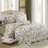 Dodou European Style Quilt Garden Theme Bird Patchwork Bedspread/Quilt Sets 100% Cotton Queen Size 3pcs