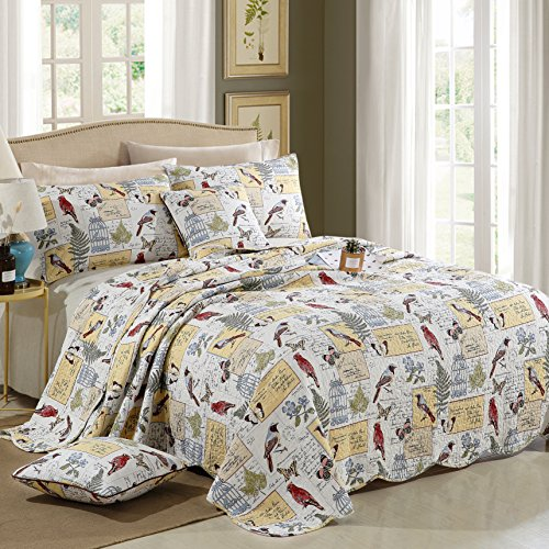 Dodou European Style Quilt Garden Theme Bird Patchwork Bedspread/Quilt Sets 100% Cotton Queen Size 3pcs by Dodou