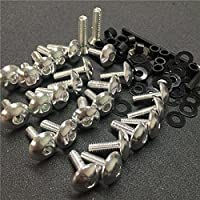 Motorcycle Silver Motorcycle Normal Fairing Bolts For 2003 2004 Suzuki Gsxr1000 Gsx-R 1000 by SMT-MOTO