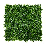 Artificial Boxwood Hedge Mats with Flowers Decoration/ Faux Greenery Panels for Indoor Plants Wall or Outdoor Fence 20''x 20'' Panels (Pack of 12)