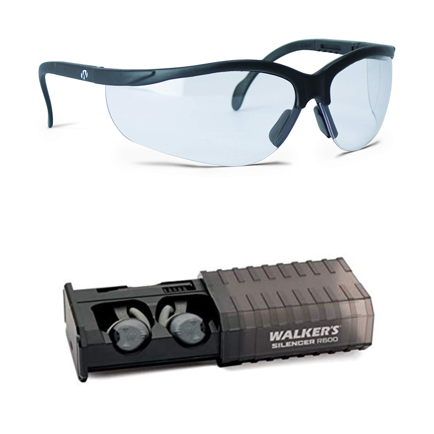 Walker's Game Ear Silencer Earbuds Rechargeable and Clear Lens Shoot Glasses by Walker's Game Ear