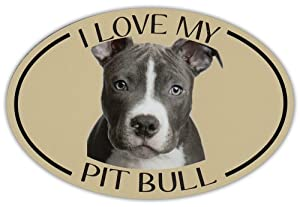 Oval Dog Breed Picture Car Magnet - I Love My Pit Bull (Pitbull) - Magnetic Bumper Sticker