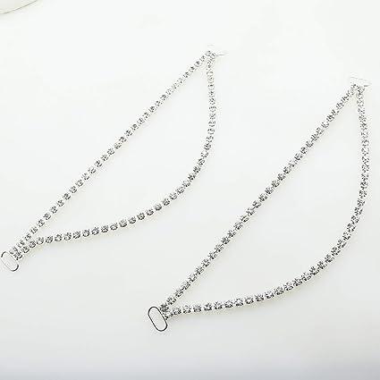AngHui ShiPin 5pcs//lot 175mm Charm Metal Chain Buttons Crystal Rhinestone Bikini Swimwear Connectors// Buckle For Swimwear