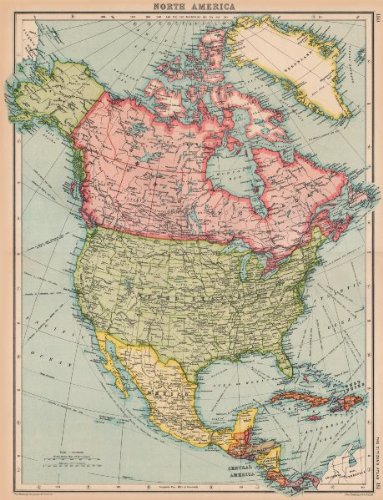 Amazon.com: NORTH AMERICA. General map. BARTHOLOMEW - 1924 - old map ...